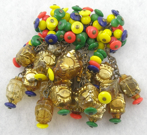 Brooches - Miriam Haskell Frank Hess Glass Bead Brooch