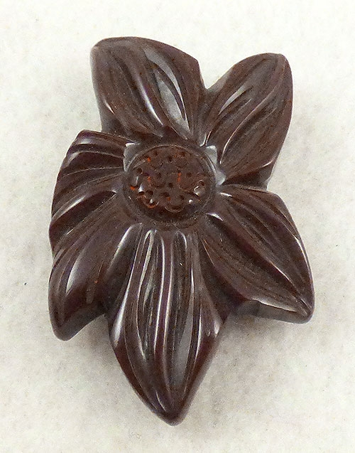 Bakelite, Celluloid, Galalith - Chocolate Bakelite Flower Dress Clip