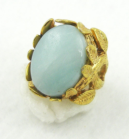 Rings - Golden Leaves Aqua Glass Ring
