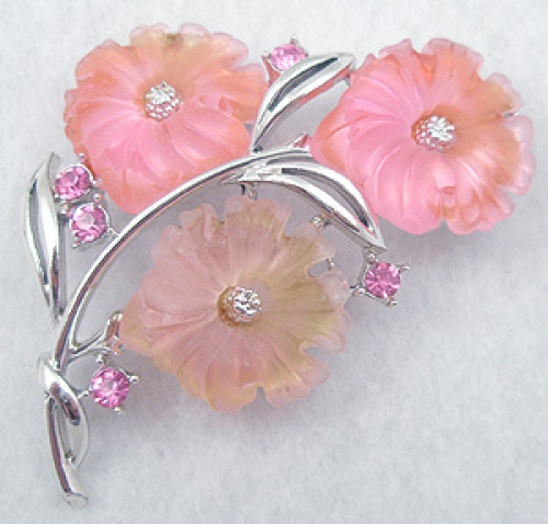 Newly Added Star Lucite Floral Brooch