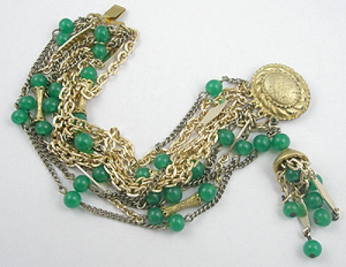 Newly Added Green Beads & Gold Chains Bracelet