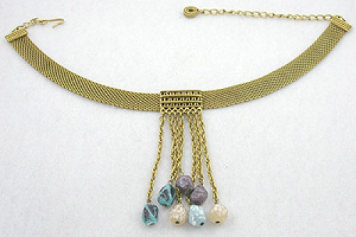 Necklaces - Mesh Chain Dangling Nuggets Necklace