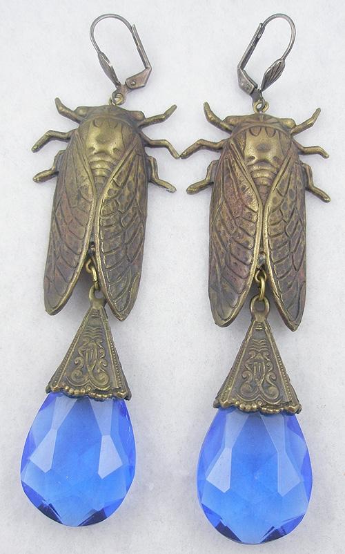 Czechoslovakia - Czech Cicada Blue Glass Drop Earrings
