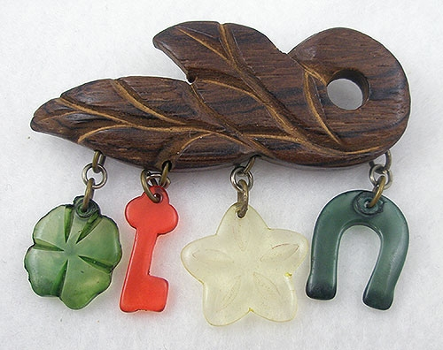 Wooden Jewelry - Vintage Wood with Lucite Charms Brooch