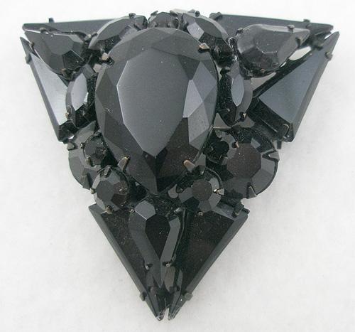Brooches - Black Rhinestone Triangle Brooch