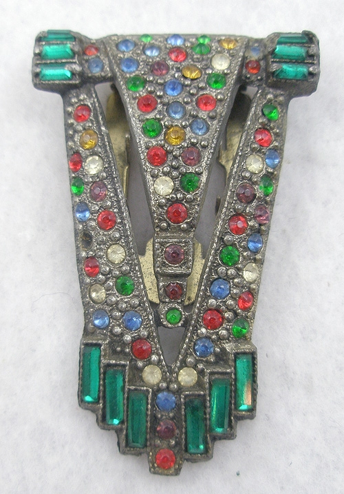 Dress & Fur Clips - Art Deco Colorful Rhinestone Dress Clip