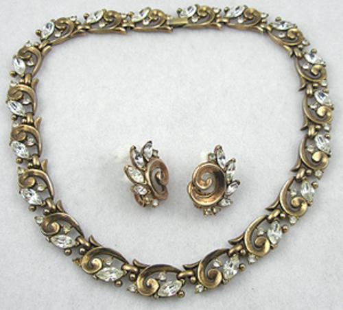 Trifari - Trifari 1950's Rhinestone Necklace Set