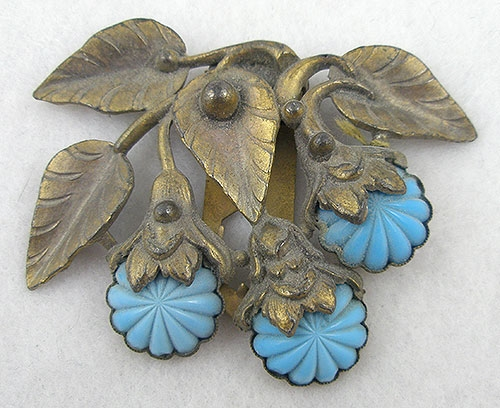 Florals - Czech Brass Floral Dress Clip
