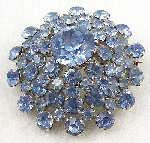 Austria - Austrian Light Blue Rhinestone Domed Brooch