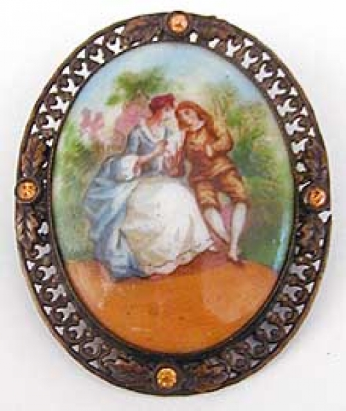 Brooches - Czech Porcelain Portrait Brooch