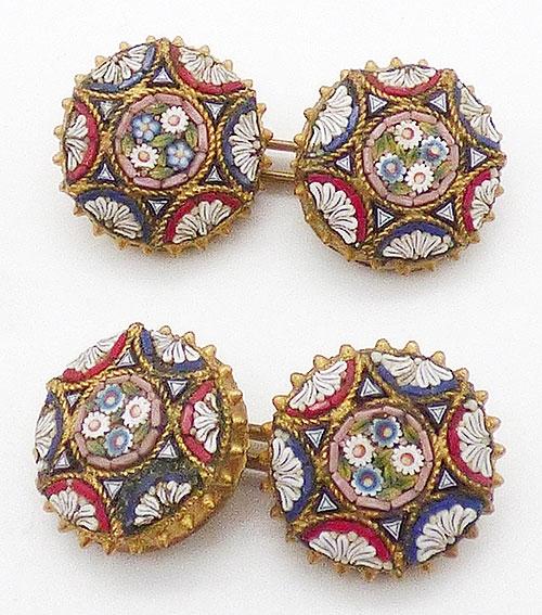 Men's Jewelry - Italian Mosaic Double Sided Cuff Links