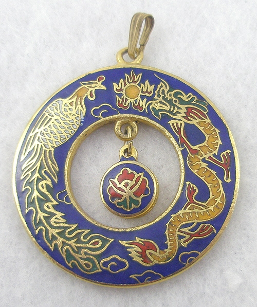 Necklaces - Cloisonne Dragon/Phoenix Pendant