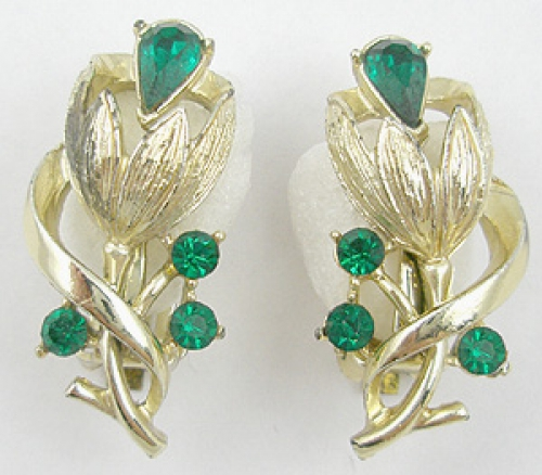 Florals - Gold Tone Tulip Emerald Rhinestone Earrings