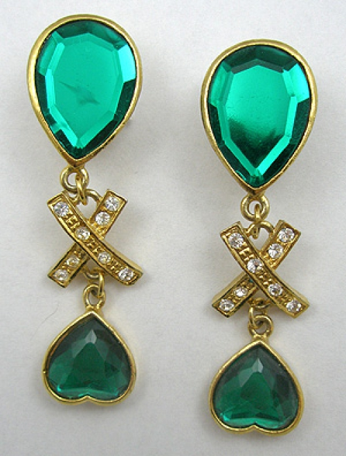 Hearts - Green Glass Shoulder Duster Earrings