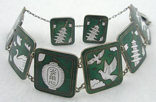 Sets & Parures - Japan Cloisonne Link Bracelet Set