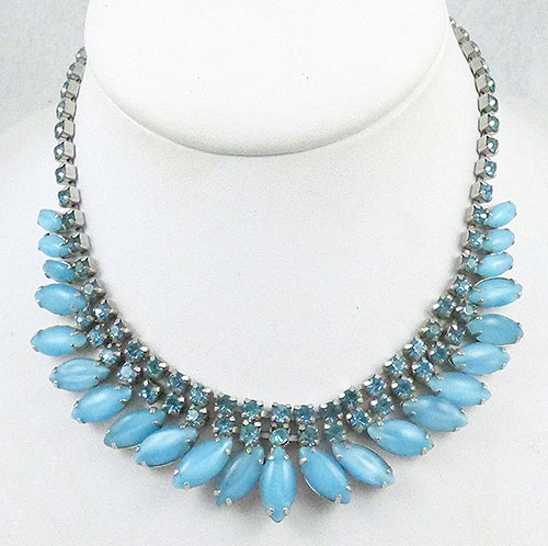 Necklaces - Turquoise Glass Navette & Necklace