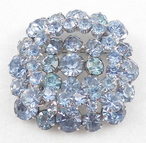 Brooches - Light Blue Rhinestone Layered Square Brooch