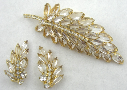 Leaves & Plants - DeLizza & Elster Clear Navette Leaf Brooch Set