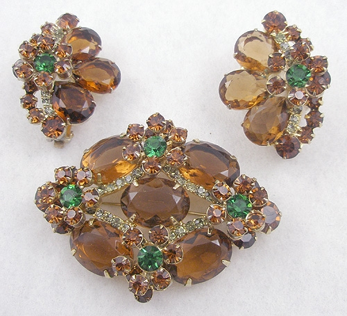 DeLizza & Elster/Juliana - DeLizza & Elster Dark Topaz Rhinestone Brooch Set