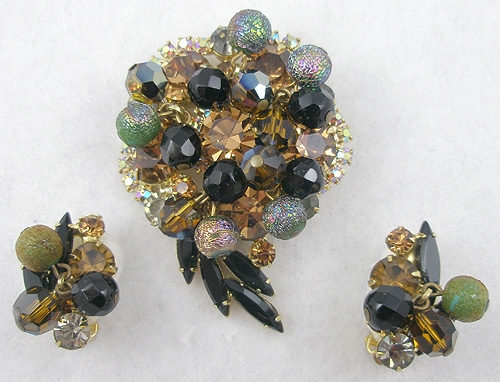 DeLizza & Elster/Juliana - DeLizza & Elster Topaz Rhinestone Black Bead Brooch Set