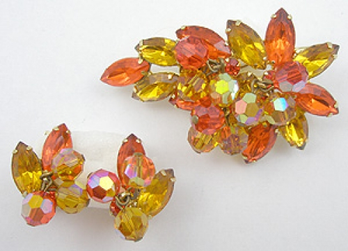 Autumn Fall Colors Jewelry - DeLizza & Elster Topaz & Orange Brooch Set
