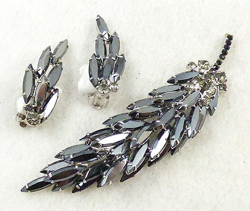 Newly Added DeLizza and Elster Hematite Leaf Brooch Set