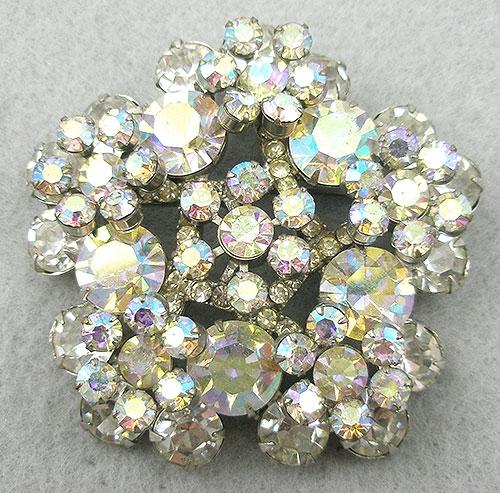 DeLizza & Elster/Juliana - DeLizza & Elster Rhinestone & Aurora Snowflake Brooch