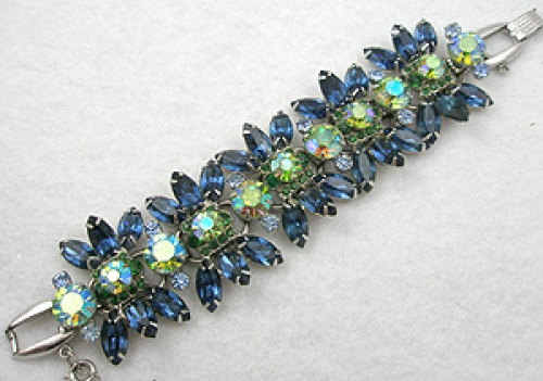 Newly Added DeLizza & Elster Blue & Green Rhinestone Bracelet