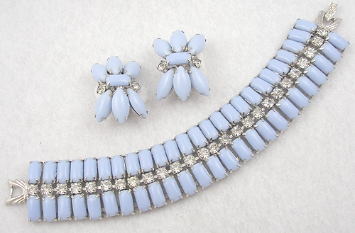 Sets & Parures - Blue Milk Glass Bracelet Set