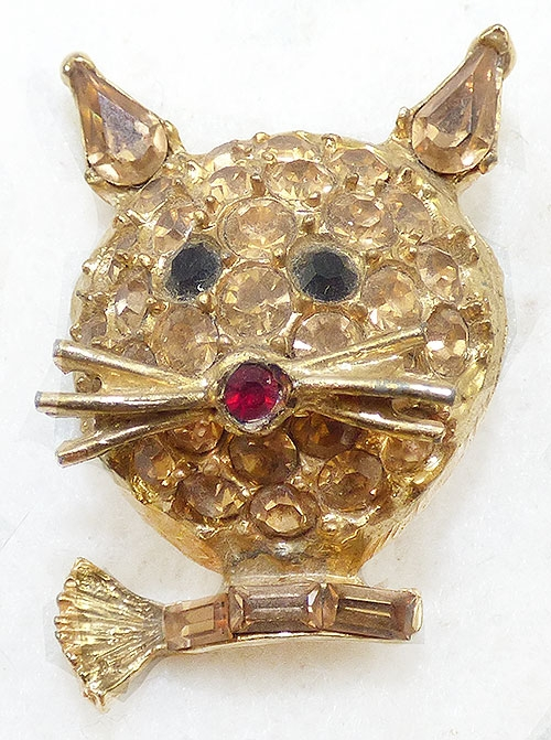 Brooches - Pell Topaz Rhinestone Cat Brooch