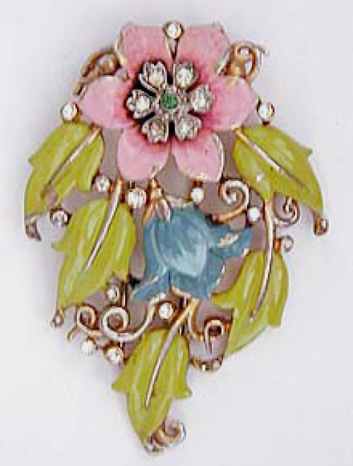End of Year Sale! 30-50% OFF - Trifari Enameled Floral Fur Clip