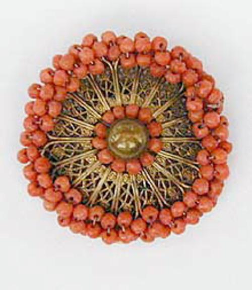 Coral Jewelry - Miriam Haskell Coral Bead Dress Clip