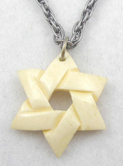 Jewish Jewelry - Carved Bone Star of David Pendant