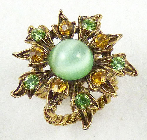 Newly Added Art Green Moonstone Glass Scarf Ring