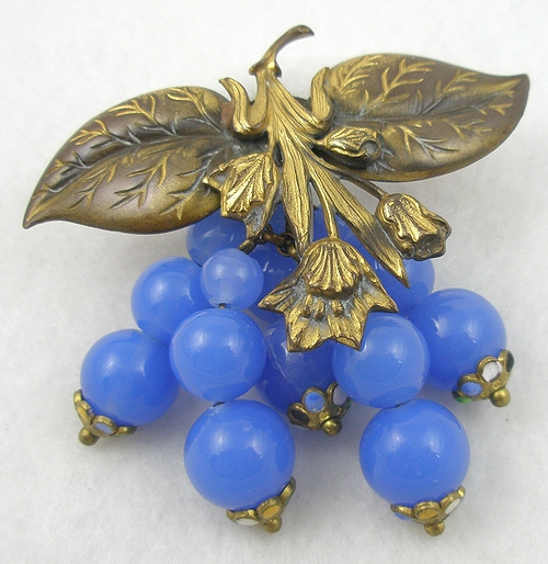 Brooches - Brass Leaves Blue Glass Bead Dangles Brooch