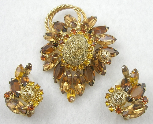 Autumn Fall Colors Jewelry - DeLizza & Elster Gold Nugget Topaz Rhinestone Set