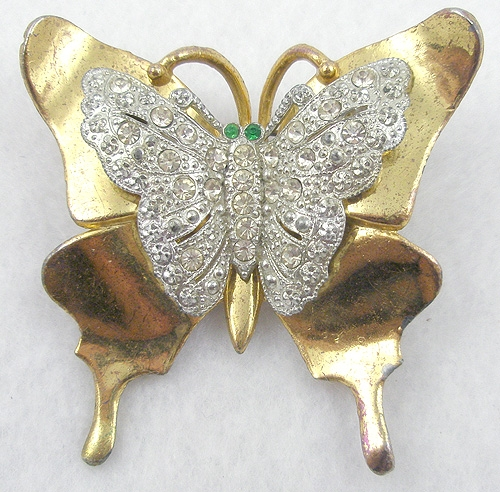 Figural Jewelry - Butterflies & Bugs - Gold Plated Rhinestone Monarch Butterfly Brooch
