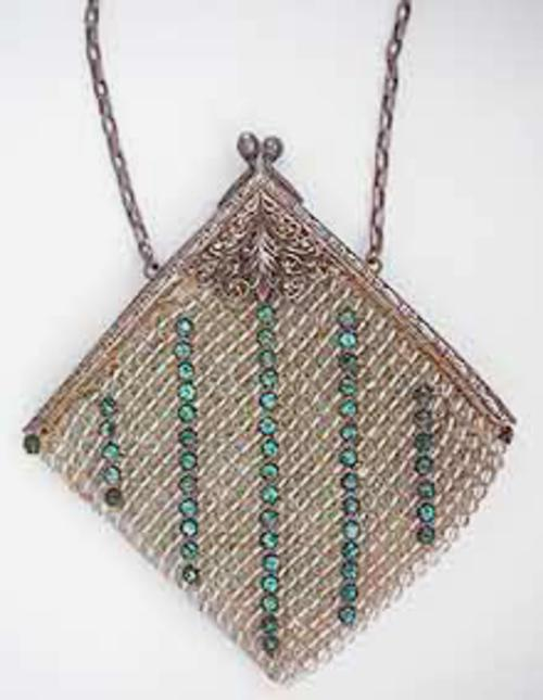 Purses - Clear Bead and Aqua Rhinestone Purse