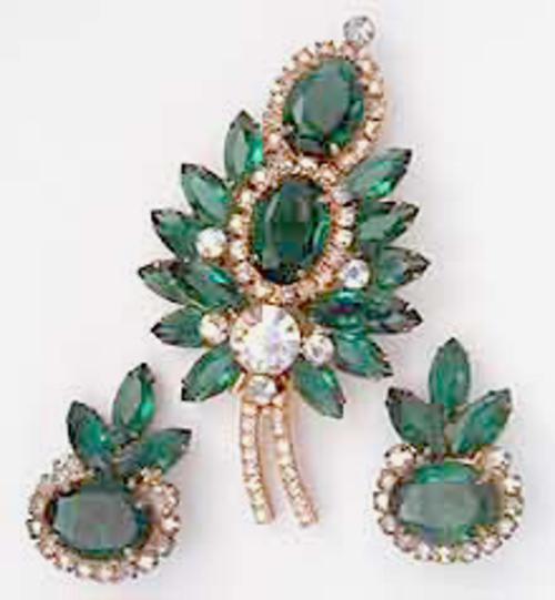 Leaves & Plants - DeLizza & Elster Green Rhinestone Brooch Set