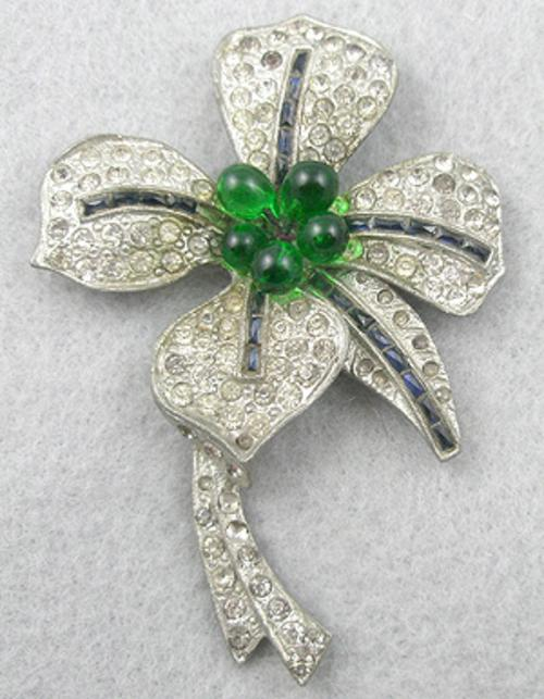 Brooches - Pot Metal Rhinestone Orchid Brooch