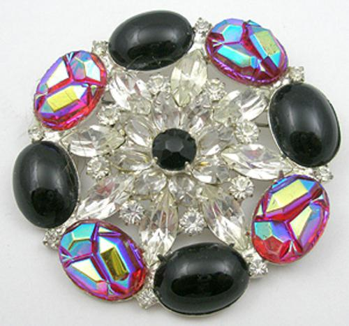 Newly Added Red Aurora Black Cab & Rhinestone Brooch