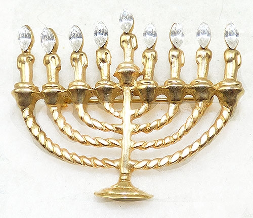 Newly Added Gold Plated Menorah Brooch