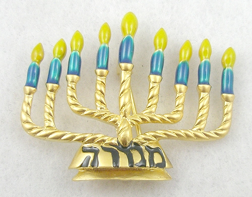 $25 or Less - Enameled Menorah Brooch