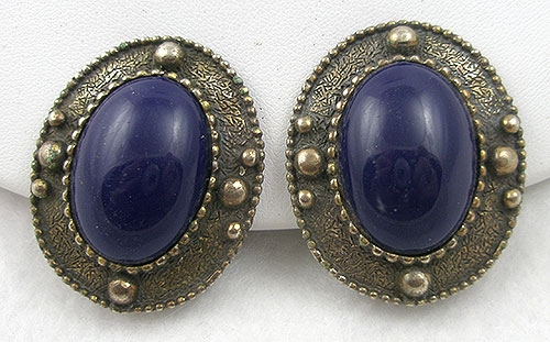 Les Bernard - Les Bernard Blue Cabochon Earrings