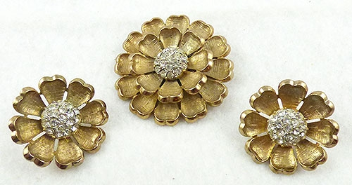 Florals - Golden Rhinestone Center Flower Brooch Set