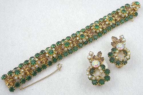 Sets & Parures - Vintage Green and Topaz Rhinestone Bracelet & Earrings Set