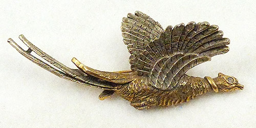 Figural Jewelry - Birds & Fish - Signed Art Gold Pheasant Brooch