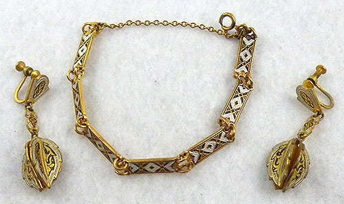 Spain - Toledoware Damascene Bracelet Earrings Set