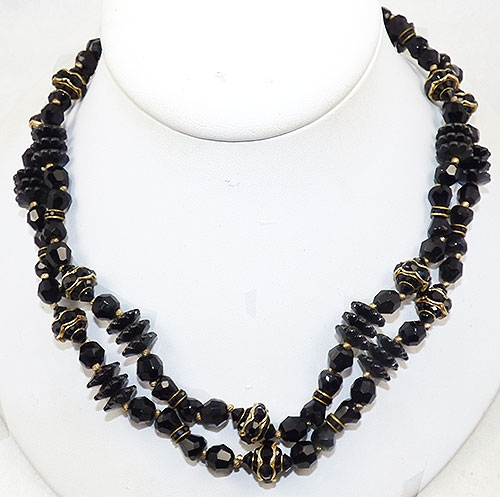 Newly Added Black Bead Double Strand Necklace