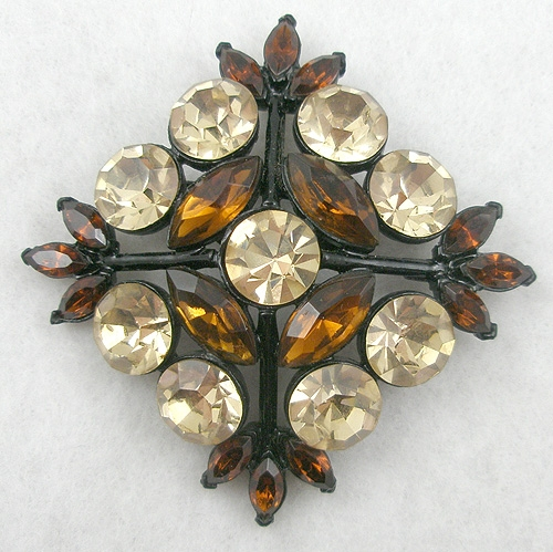 Brooches - Edlee Champagne & Root Beer Rhinestone Japanned Brooch
